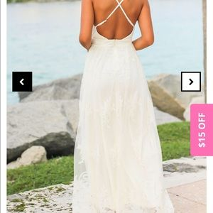 Never worn, NWT white lace maxi